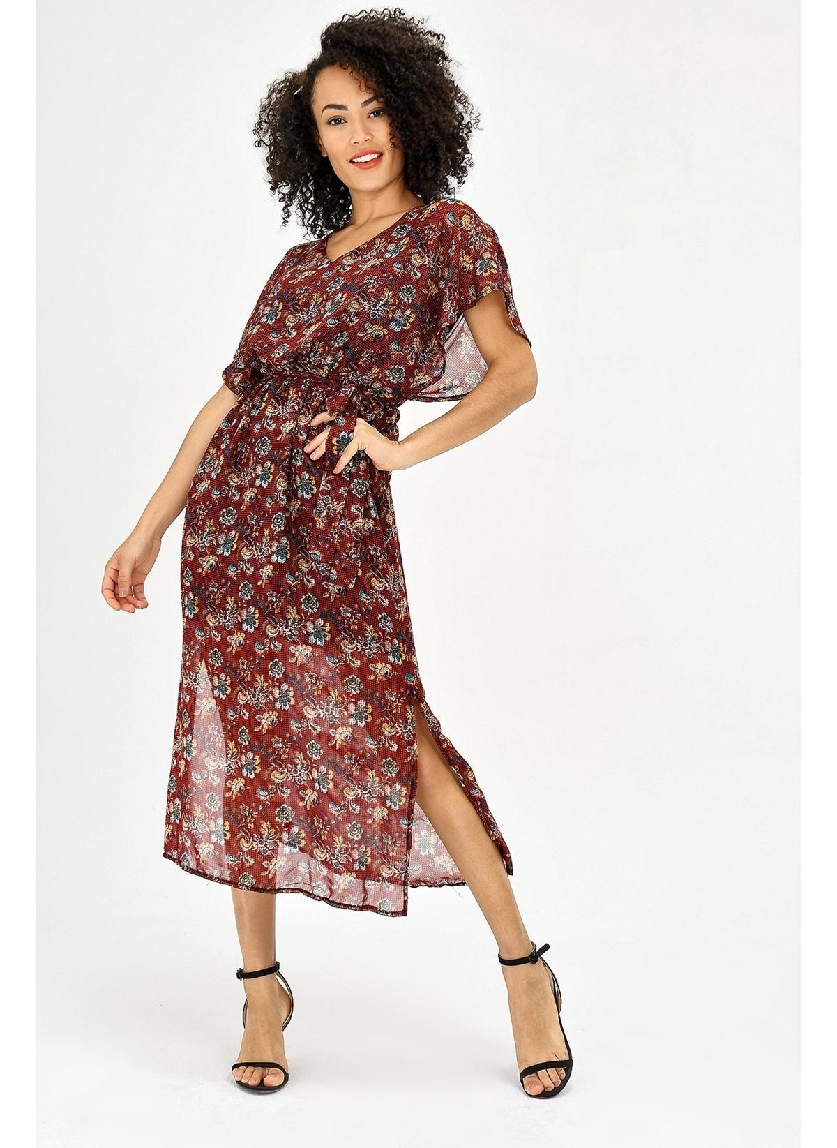 b3573f486712d Jument Kadın Şifon V Yaka Yarasa Salaş Beli Lastikli Elbise Bordo D ...